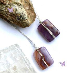 Purple Chalcedony Rectangle Pendant